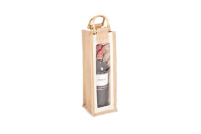Jutetasche für eine Flasche mit Sichtfenster